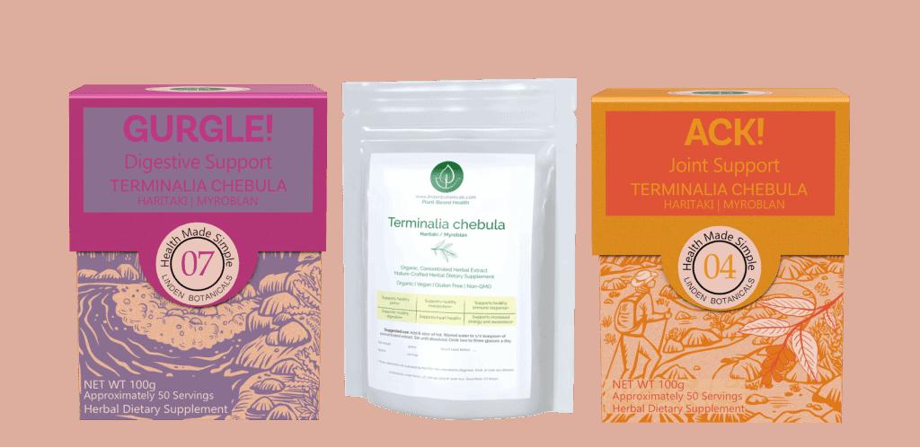 Terminalia Chebula - GURGLE Digestive Support - ACK Joint Support - Linden Botanicals